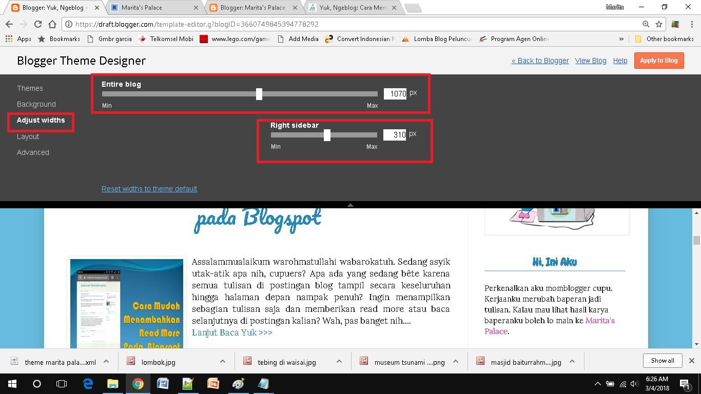 mendesain template blog sederhana memilih adjust width
