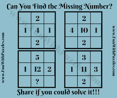 Mathematical Picture Puzzle to find the missing number in Square