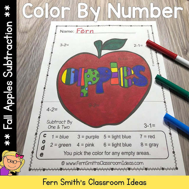 Click Here to Download These Fall Color By Number Subtraction Apple Themed Printables For Your Students Today!