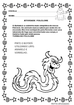 Atividade de folclore para educação infantil com a lenda BOITATÁ. para imprimir e colorir