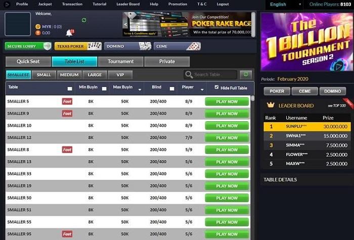 IDN Poker Malaysia Lobby Games
