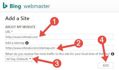 add site sitemap to bing webmaster tools