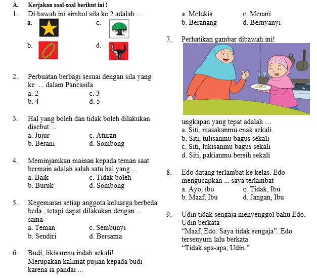 Soal Ujian Semester Kelas 1 Tema 5 SD/MI