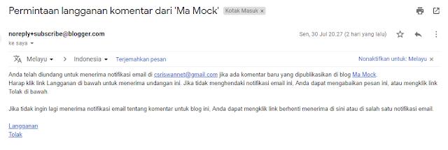 Tidak Mendapatkan Notifikasi Komentar Blogger Melalui Email