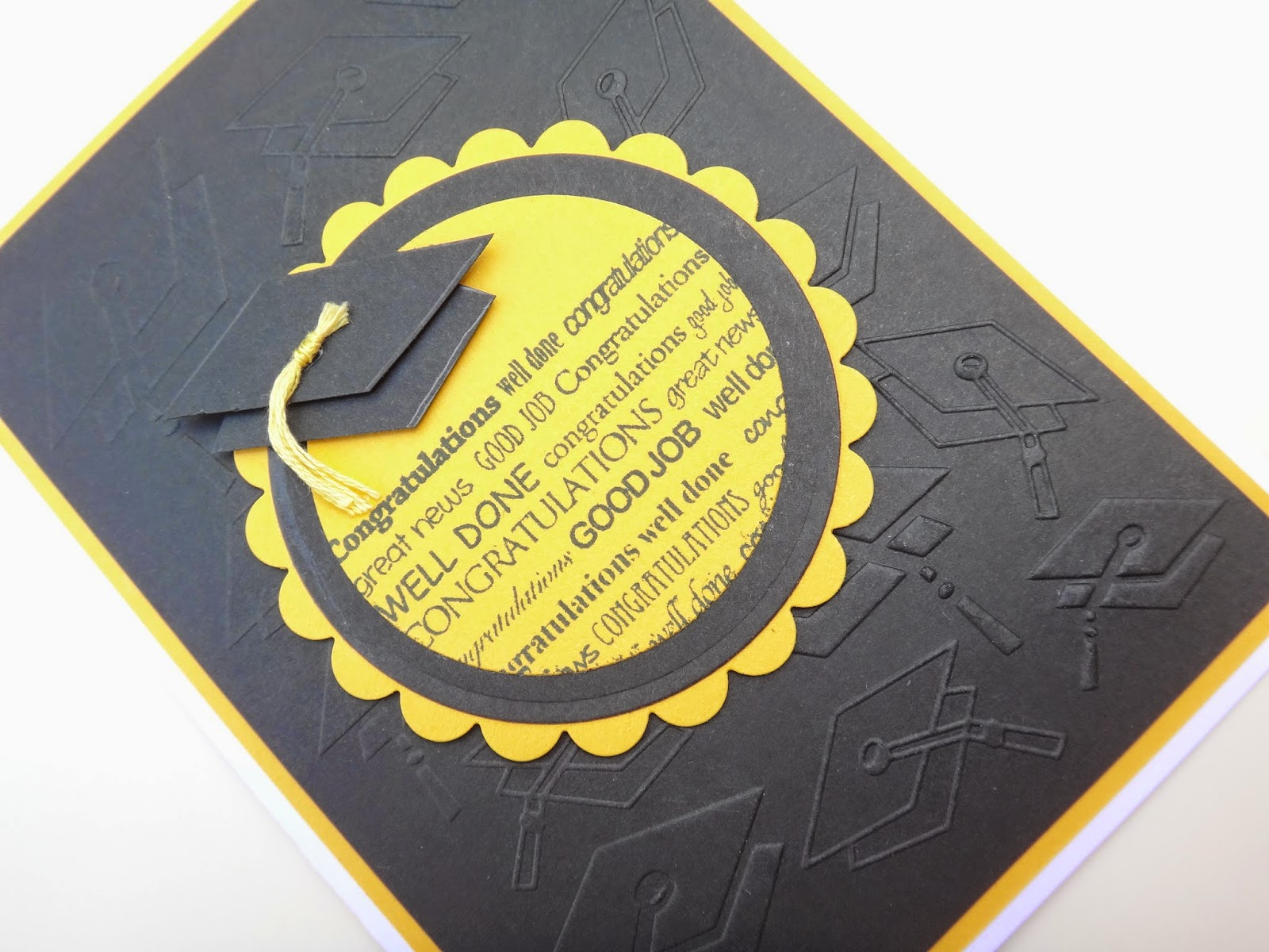 Hand made graduation card with embossed background