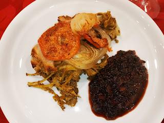 Bacalhau no forno com arroz preto