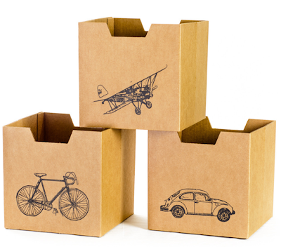 3 cardboard storage bins with pictures of a car, a bike and a plane