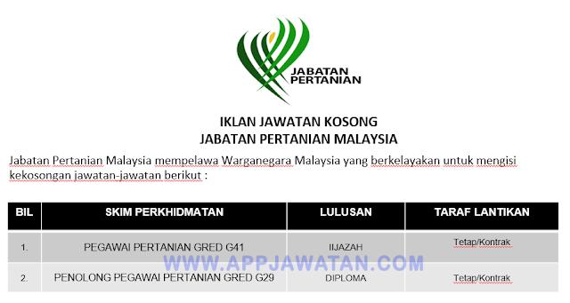 Jawatan Kosong di Jabatan Pertanian Malaysia