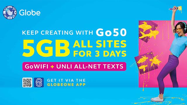 Globe Go Promos: data promos from GlobeOne (Go50, Go90, Go120, Go140)