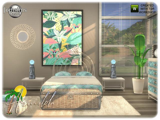 For the beach Спальня Армельда для The Sims 4 Летнее приключение шик с новой спальней для взрослых, пляж вдохновения и отдыха. картина большая. тумбоска, настольная лампа, скульптурный стол, комод, пододеяльник, сиденье, багажник, настенное зеркало, завод. все в 4 оттенках и 4 цветах. Автор: jomsims