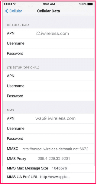 iWireless APN Settings for iPhone and iPad