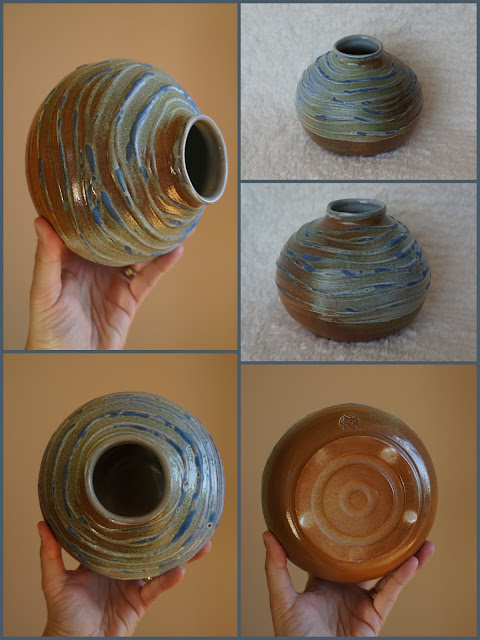 Textured soda fired pottery vase by Lily L.
