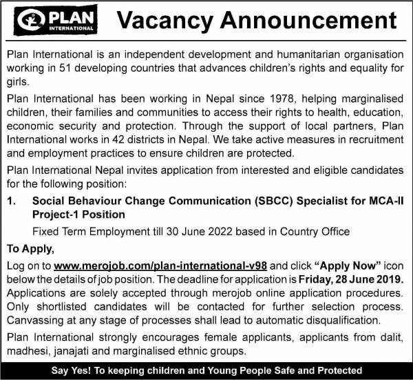 Vacancy Announcement from Plan International Nepal
