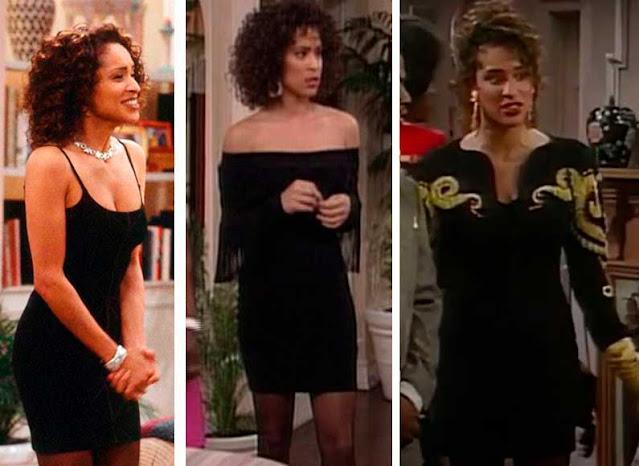 três vestidos diferentes pretos e curtos da Hilary