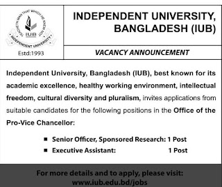 Independent University, Bangladesh (IUB) Recruitment Circular 2018