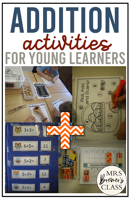 Addition math activities and math center games for Kindergarten and First Grade