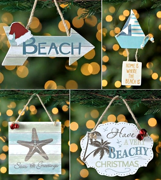 Beach Christmas Ornaments with Quotes