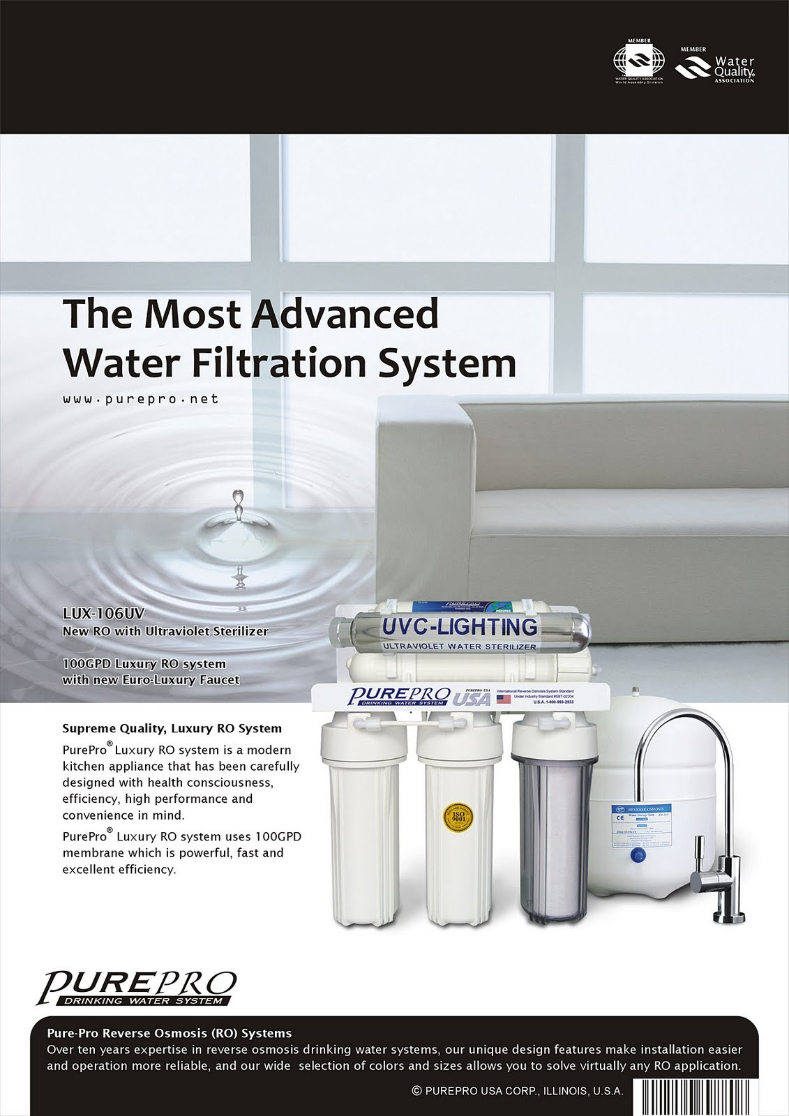 PurePro® LUX-106UV Reverse Osmosis Water Filtration System