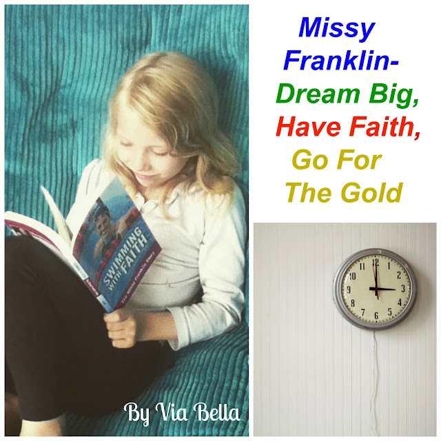 Missy Franklin- Dream Big, Have Faith, Go For the Gold, Zonderkidz, Book Review, Via Bella, Zondervan, Olympics, Rio 2016, Olympics 2016, Missy Franklin, Melissa Franklin, Gold Medals, Faith, Inspiration, Girls, Swimming