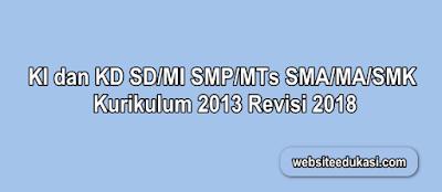 KI dan KD SD SMP SMA SMK Kurikulum 2013 Revisi 2018