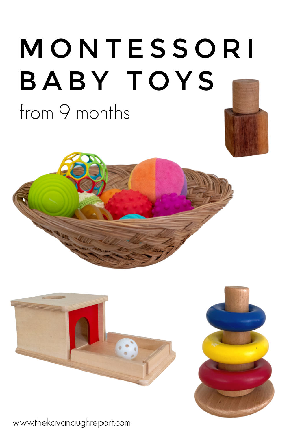 Montessori baby toys for 9 and 10 month olds. These educational and engaging toys are perfect for families looking for baby activities.