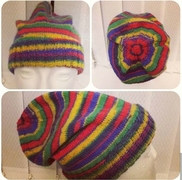 A collage photo showing three views of a hand knitted hat
