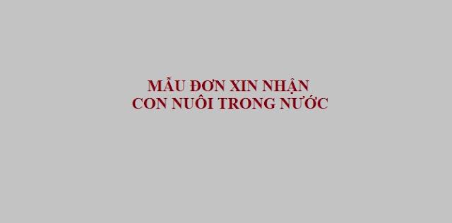MẪU ĐƠN XIN NHẬN CON NUÔI TRONG NƯỚC - LUẬT TÂN SƠN