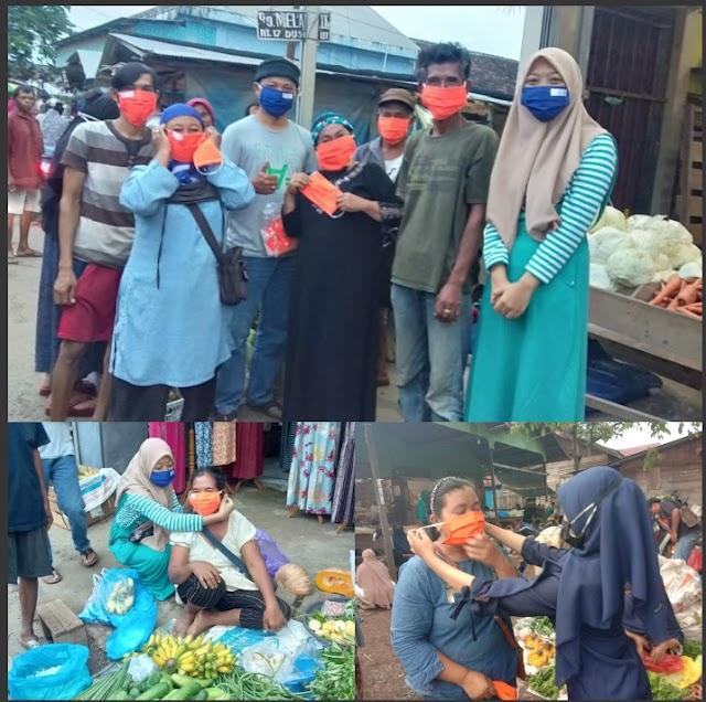 Pedagang Pasar Sudan Raya Gembira Terima Masker Gratis Dari Yayasan H. Maming 69