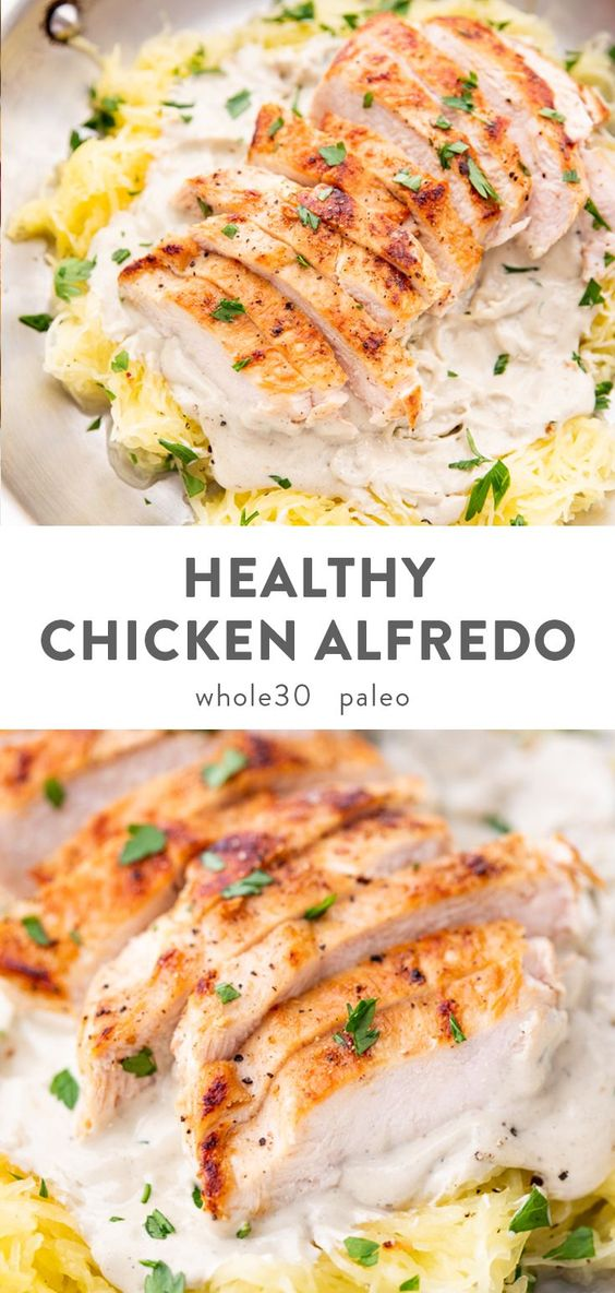 Healthy Chicken Alfredo with Spaghetti Squash (Whole30, Paleo, Dairy Free) #recipes #healthyfoodrecipes #food #foodporn #healthy #yummy #instafood #foodie #delicious #dinner #breakfast #dessert #lunch #vegan #cake #eatclean #homemade #diet #healthyfood #cleaneating #foodstagram