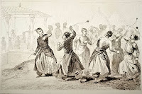 Osmanlıda tomak oyununu gösteren eski bir gravür çizim