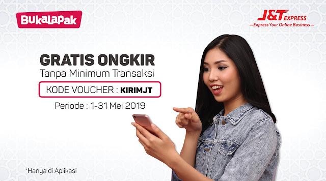 #Bukalapak - #Promo #Voucher Gratis Ongkir Tanpa Min Transaksi Pakai J&T (s.d 31 Mei 2019)