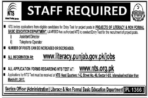Punjab Literacy and Non Formal Basic Education JObs