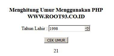Code PHP Untuk Menghitung Umur - Ahmad Zaelani root93