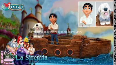 Tarta personalizada fondant La Sirenita Eric Max Laia's Cupcakes Puerto Sagunto