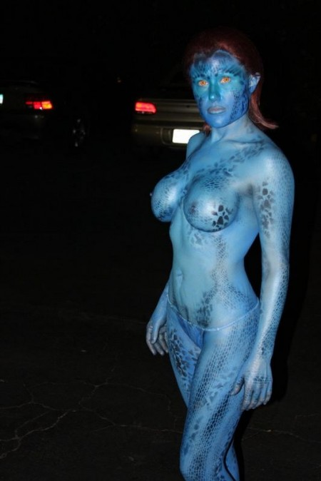 mystique cosplay body paint