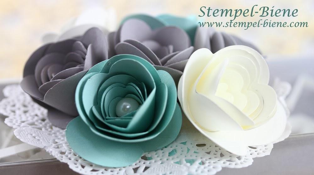 stampin up Hochzeitsgeschenk basteln, Geldgeschenk silberne hochzeit Originals Form Spiralblume, Basic Perlenschmuck groß, Papier Spitzendeckchen, Geschenkschachteln schnelle Überraschung, Schiefergrau
