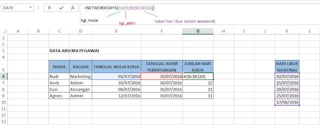 Cara Menghitung Hari Kerja Pada Microsoft Excel dengan Fungsi Networkdays