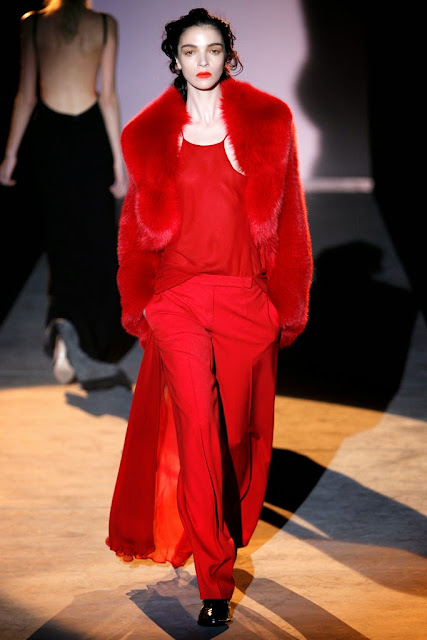 Mariacarla Boscono in Red Fur by Hakaan - Cool Chic Style Fashion