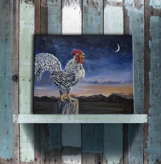 Rooster sunrise and stars original painting for Nibblefest AND a Giveaway!