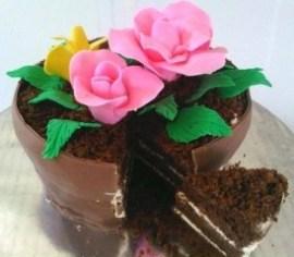 Model kue bentuk pot bunga