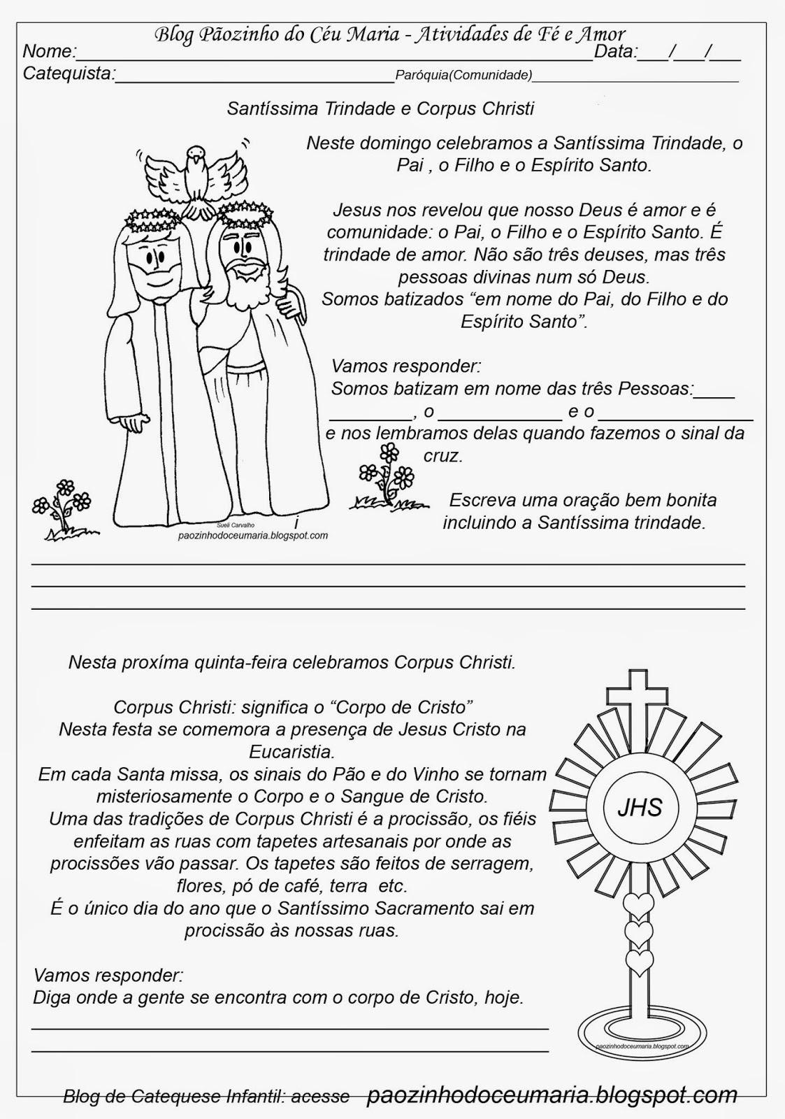 Conhecido Pãozinho do Céu: Santíssima Trindade: Atividades de Catequese WK24