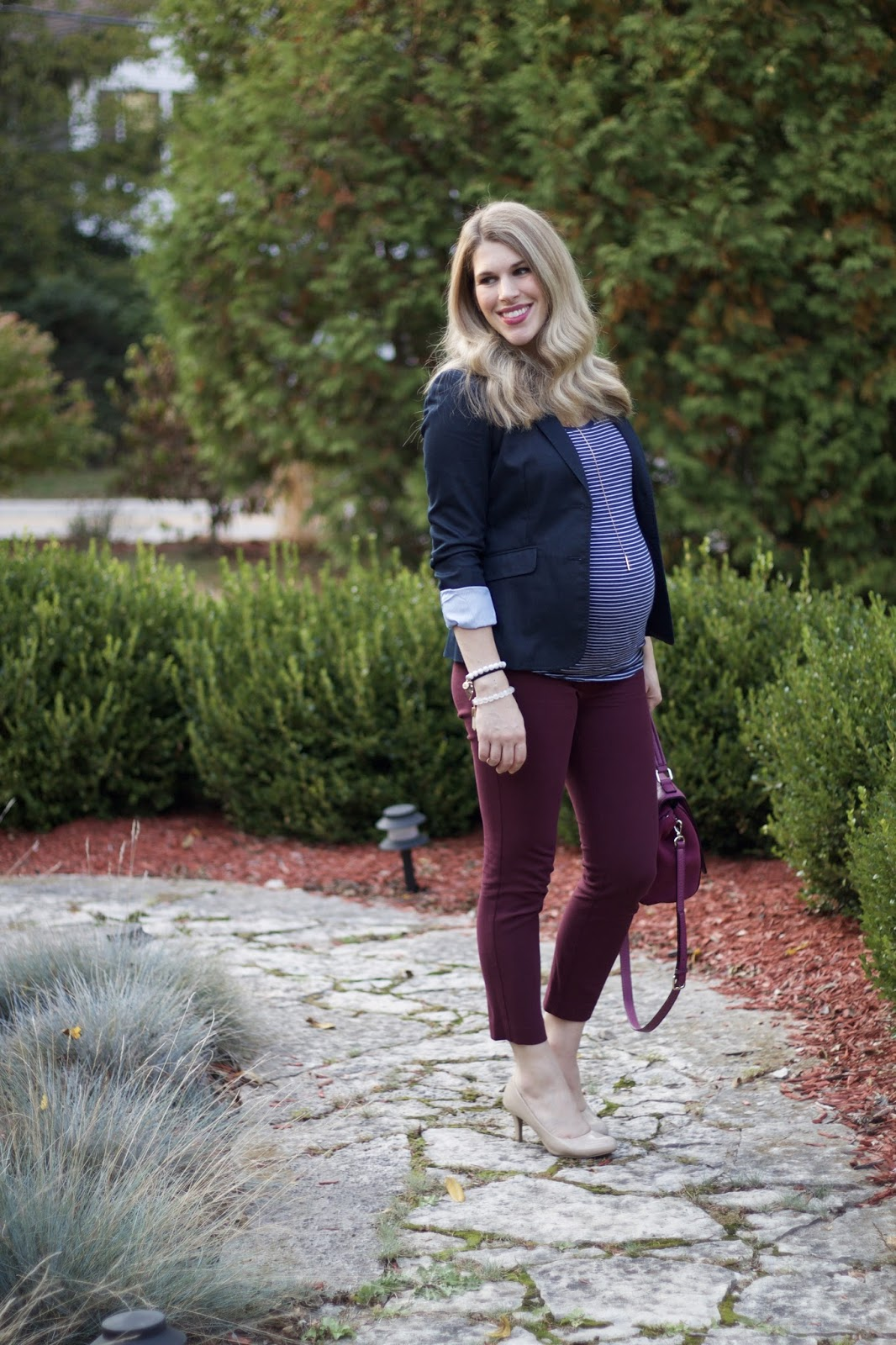 navy striped top, navy blazer, burgundy pants,nude heels, Kate Spade plum colored bag, fall maternity work outfit