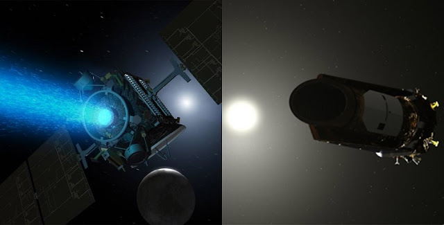Illustrations of NASA Dawn (left) and Kepler (right) spacecraft. Credit: NASA