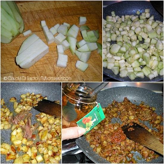 Fusilli con melanzane, alici e pesto di pomodori secchi