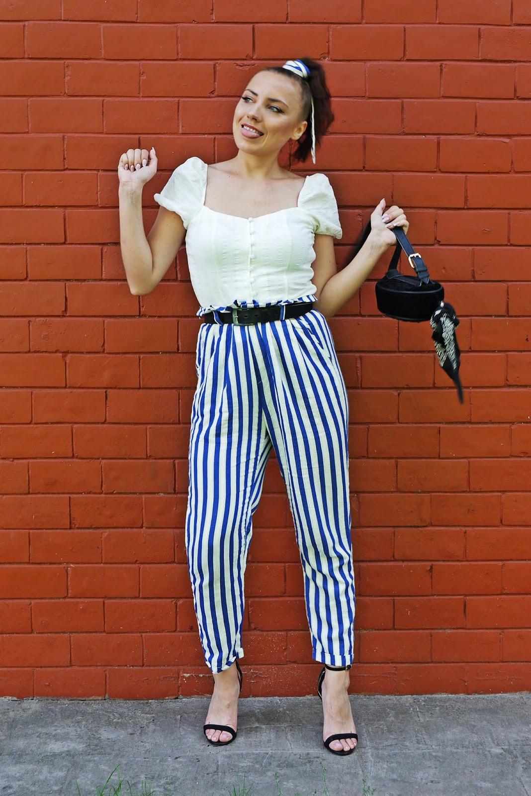 top z bufkami bershka szpilki atmosphere spodnie w paski karyn blog modowy blogerka modowa