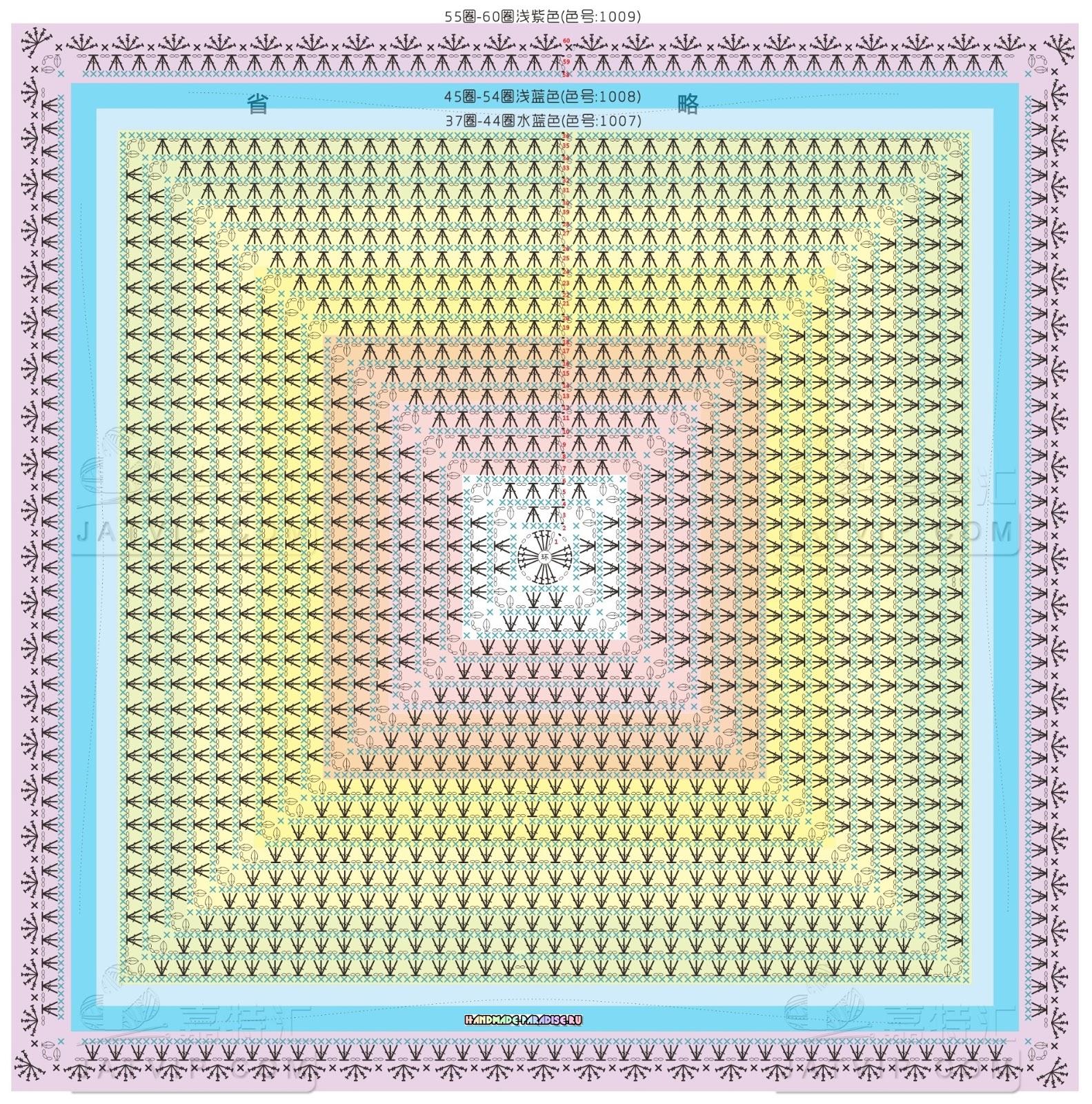 Схема вязания крючком скатерти