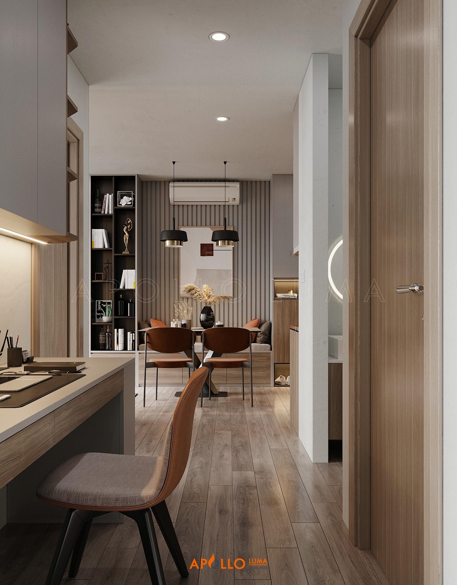 Thiết kế nội thất căn 2PN+1WC (55m2) S3.03-03 Vinhomes Smart City
