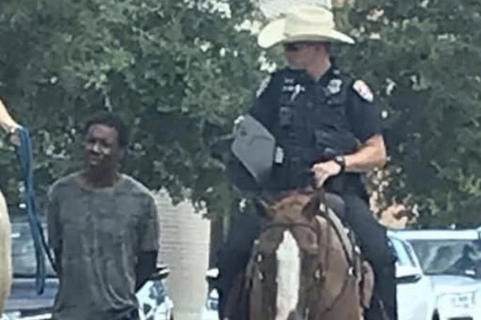 Black man led by rope by white cops on horseback sues Texas city