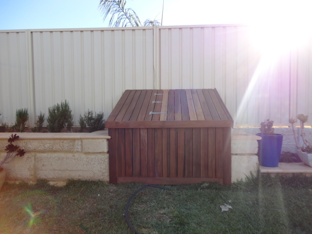 Woodwork Design Pool Pump Storage Timber Box Greenwood