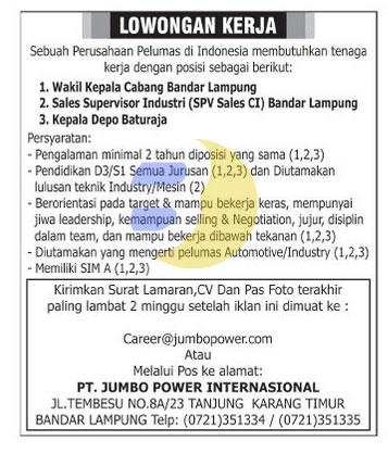 Lowongan Kerja Terbaru Di Bandar Lampung Loker Lowongan Kerja Di Lampung Hari Ini Agustus 2016 Lowongan Kerja Lampung Minggu 05 Juli 2015 Terbaru Lampung